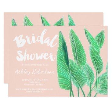 Beach Themed Modern bridal shower watercolor tropical leaf pink card
