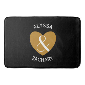 Modern Bride and Groom Gold Heart Curved Text Z04 Bath Mat