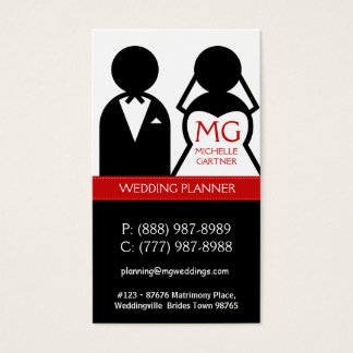 Modern Bride and Groom Icon Wedding Planner Business Card