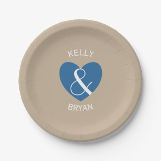 Modern Bride and Groom Navy Blue Heart Z06 7 Inch Paper Plate