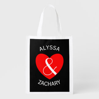 Modern Bride and Groom Red Heart Curved Text A21a Grocery Bag