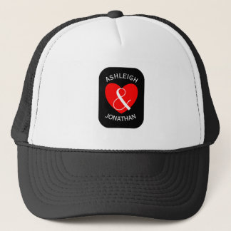 Modern Bride and Groom Red Heart Curved Text A67A Trucker Hat