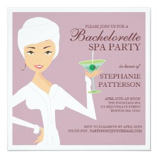 """Modern Bride Bachelorette Spa Party Invitation 5.25"""" Square Invitation Card"""