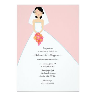 ricanbaby modern bride BRIDAL SHOWER invitation PINK 2