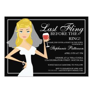 Modern Bride Last Fling Bachelorette Party 5x7 Paper Invitation Card