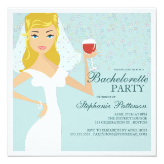 Modern Bride Wine Bachelorette Party Invitation