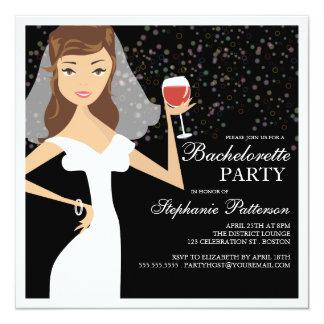 """Modern Bride Wine Bachelorette Party Invitation 5.25"""" Square Invitation Card"""