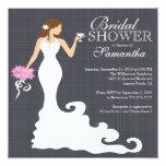"""Modern Bride Wine Bridal Shower Invitations 5.25"""" Square Invitation Card"""