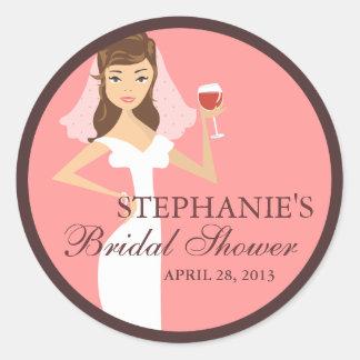 Modern Bride Wine Theme Bridal Shower Favor Classic Round Sticker