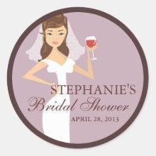 Modern Bride Wine Theme Bridal Shower Favor Sticker