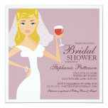 "Modern Bride Wine Theme Bridal Shower Invitation 5.25"" Square Invitation Card"