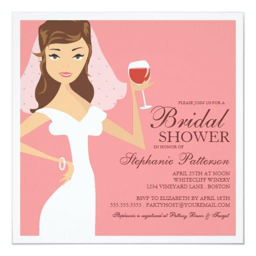 Modern bride wine theme bridal shower invitation zazzle for Modern bridal shower invitations