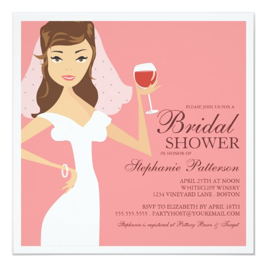 Modern bride wine theme bridal shower invitation zazzle modern bride wine theme bridal shower invitation filmwisefo