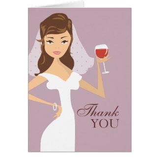 Modern Bride Wine Theme Thank You Card