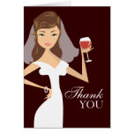 Modern Bride Wine Theme Thank You Card | Brown