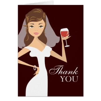 Modern Bride Wine Theme Thank You Card | Brown