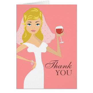 Modern Bride Wine Theme Thank You Card | Pink