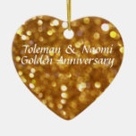 Modern Bright 50th Golden Wedding Anniversary Ornaments