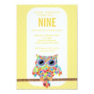 Owl birthday invitations announcements zazzle modern bright birthday party rainbow owl invite filmwisefo