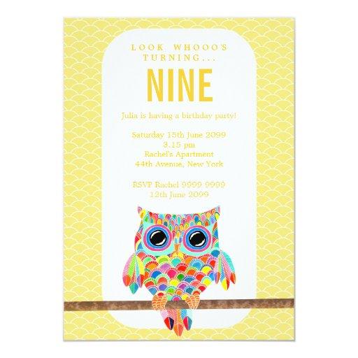 Modern Bright Birthday Party Rainbow Owl Invite