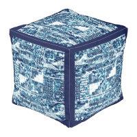 Modern Bright Blue Bold Boshi Shibori Block Print Cube Pouf