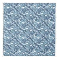 Modern Bright Blue Bold Boshi Shibori Block Print Duvet Cover