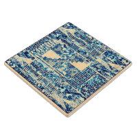 Modern Bright Blue Bold Boshi Shibori Block Print Maple Wood Coaster