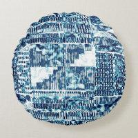 Modern Bright Blue Bold Boshi Shibori Block Print Round Pillow