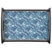 Modern Bright Blue Bold Boshi Shibori Block Print Service Trays