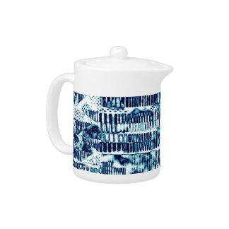 Modern Bright Blue Bold Boshi Shibori Block Print Teapot