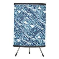 Modern Bright Blue Bold Boshi Shibori Block Print Tripod Lamp