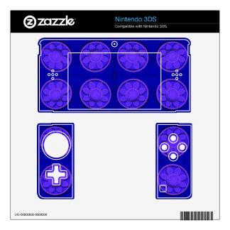Modern bright blue flowers skin for nintendo 3DS