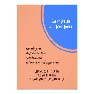 Modern Bright blue pastel orange Circle Wedding Card