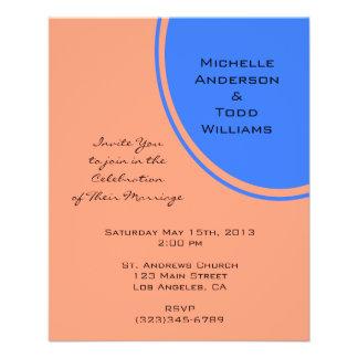 Modern Bright blue pastel orange Circle Wedding Flyer