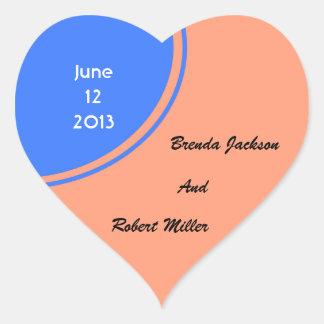 Modern Bright blue pastel orange Circle Wedding Heart Sticker