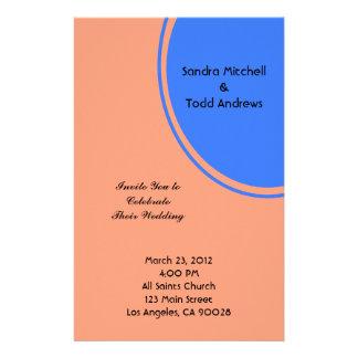 Modern Bright blue pastel orange Circle Wedding Stationery