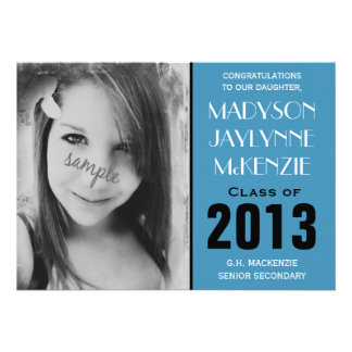 Modern Bright Blue Photo Graduation Party Personalized Invitations