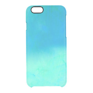Modern bright blue turquoise ombre watercolor clear iPhone 6/6S case