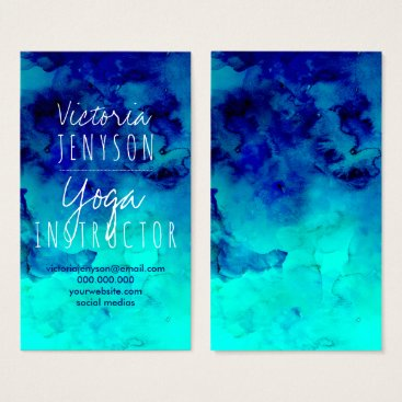 Beach Themed Modern bright blue turquoise watercolor yoga business card