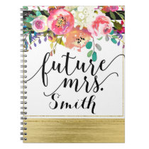 Modern Bright Bold Floral Watercolor Future Mrs. Notebook