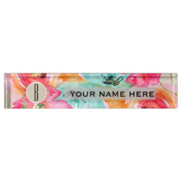 Modern Bright Colorful Floral Watercolor Kraft Desk Name Plate
