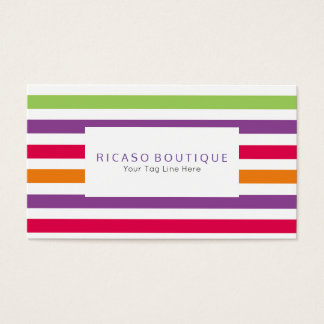 Modern Bright Colorful Fun Striped Personalized Business Card