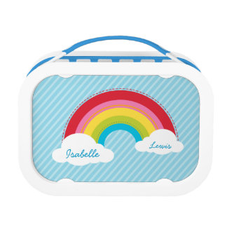 MODERN bright colorful rainbow in the sky Lunchboxes