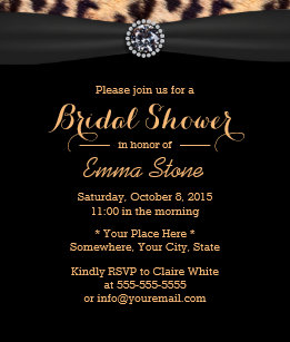 Leopard bridal shower invitations zazzle modern bright diamond leopard bridal shower invitation filmwisefo