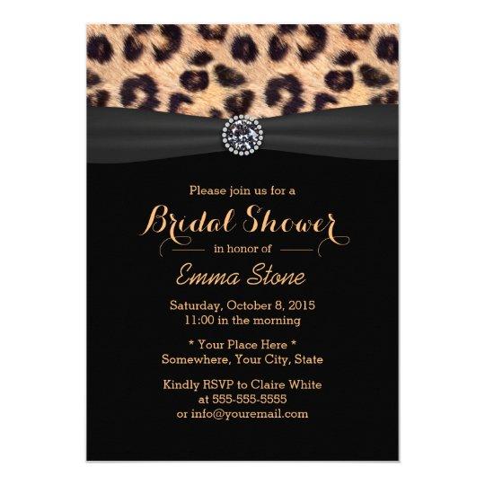 Modern Bright Diamond Leopard Bridal Shower Invitation