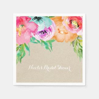 Modern Bright Floral Brown Kraft Bridal Shower Napkin