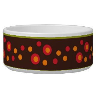 Modern Bright Green Stripes and Red Circle Pattern Bowl