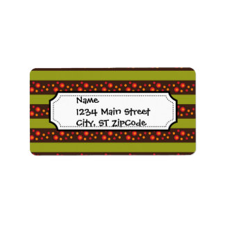Modern Bright Green Stripes and Red Circle Pattern Label