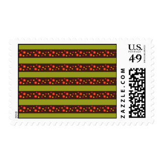 Modern Bright Green Stripes and Red Circle Pattern Postage Stamps