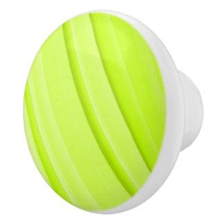 Modern Bright Green Stripes Ceramic Knob